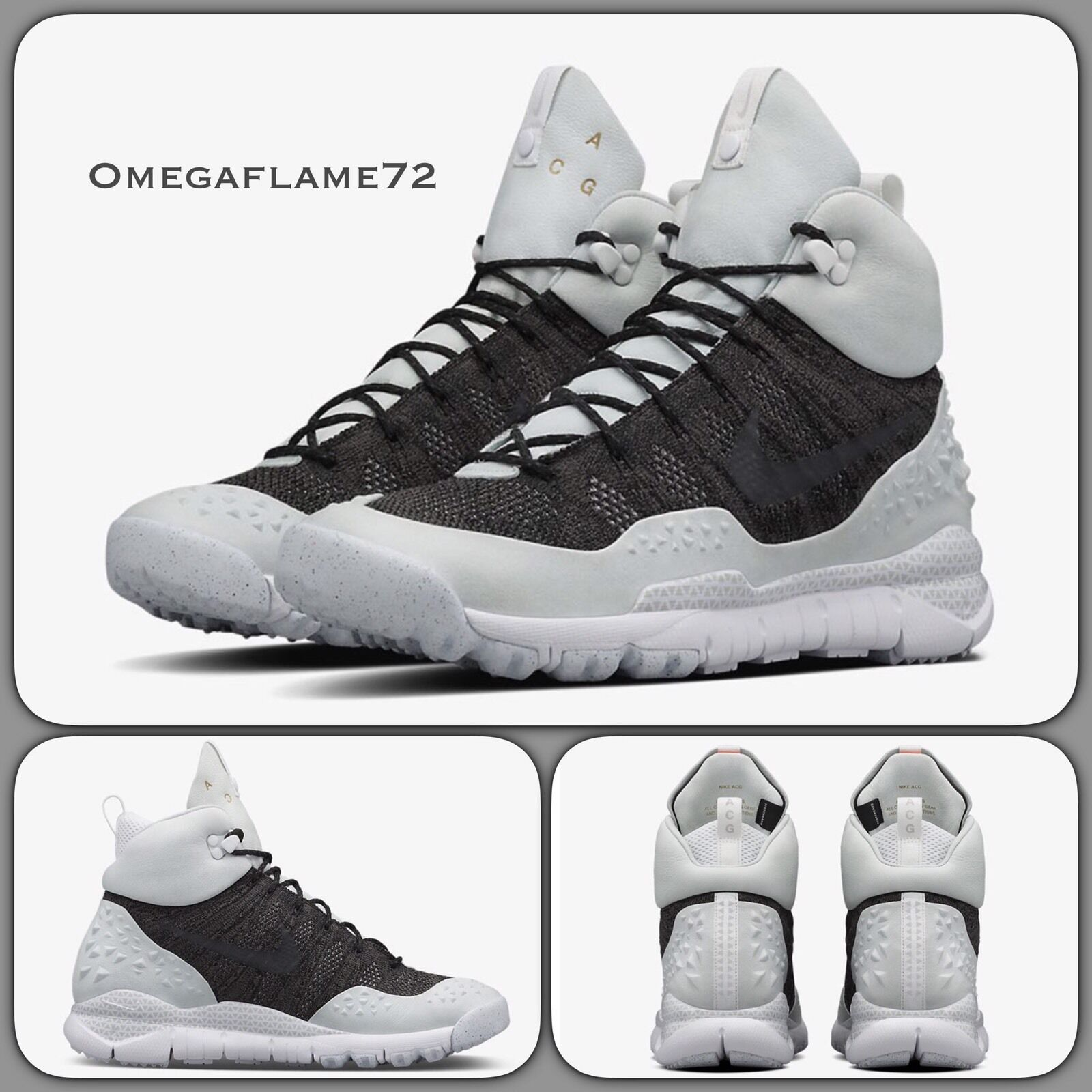 Nike Lupinek Flyknit ACG 5 826077-002 EUR 37.5 USA 5 ACG Nero Bianco 5af4fb