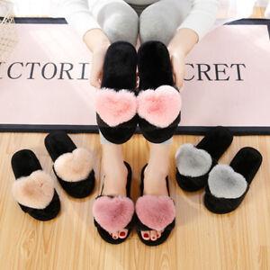 98def162cb7c Women Fur Heart Pom Plush Slip on Sliders Slippers Sandals Flip ...