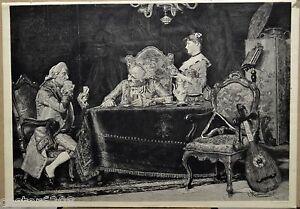 Gravur 1886 IN Die Enge Getrieben Party Spiel Karten P.Massinia José Torne