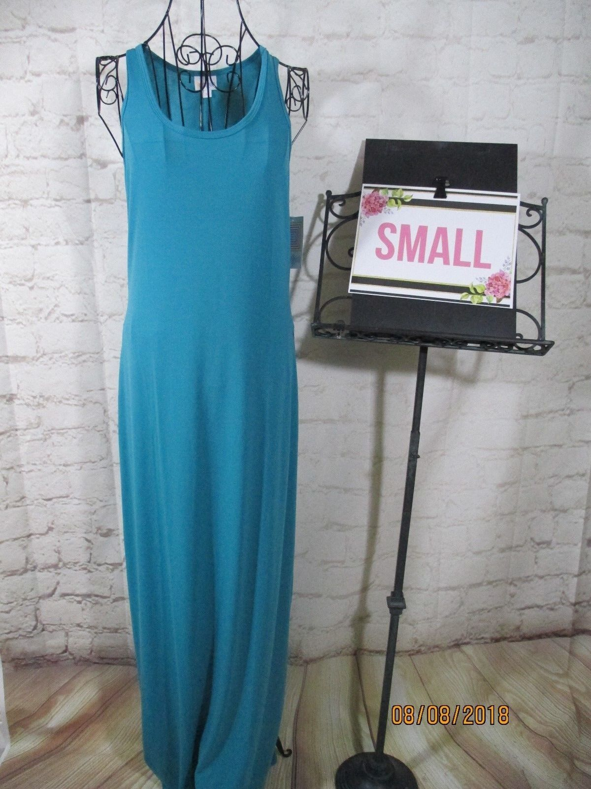 Lularoe NWT S Small Dani Sleeveless Solid Turquoise Tank Maxi Dress
