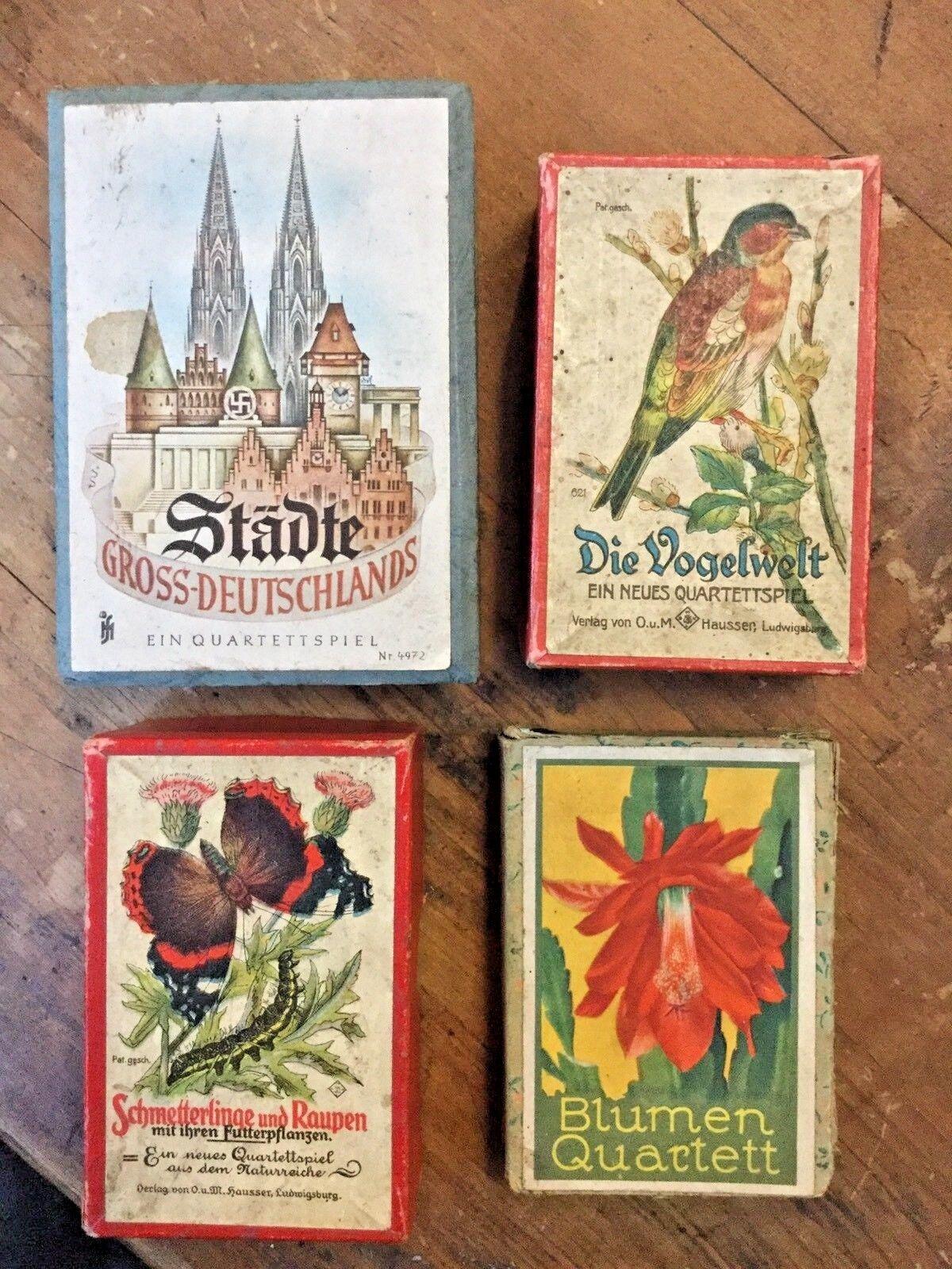 Antiche Carte Da Gioco TEDESCHE ( bleumen Quartett, Die Vogelwelt....)