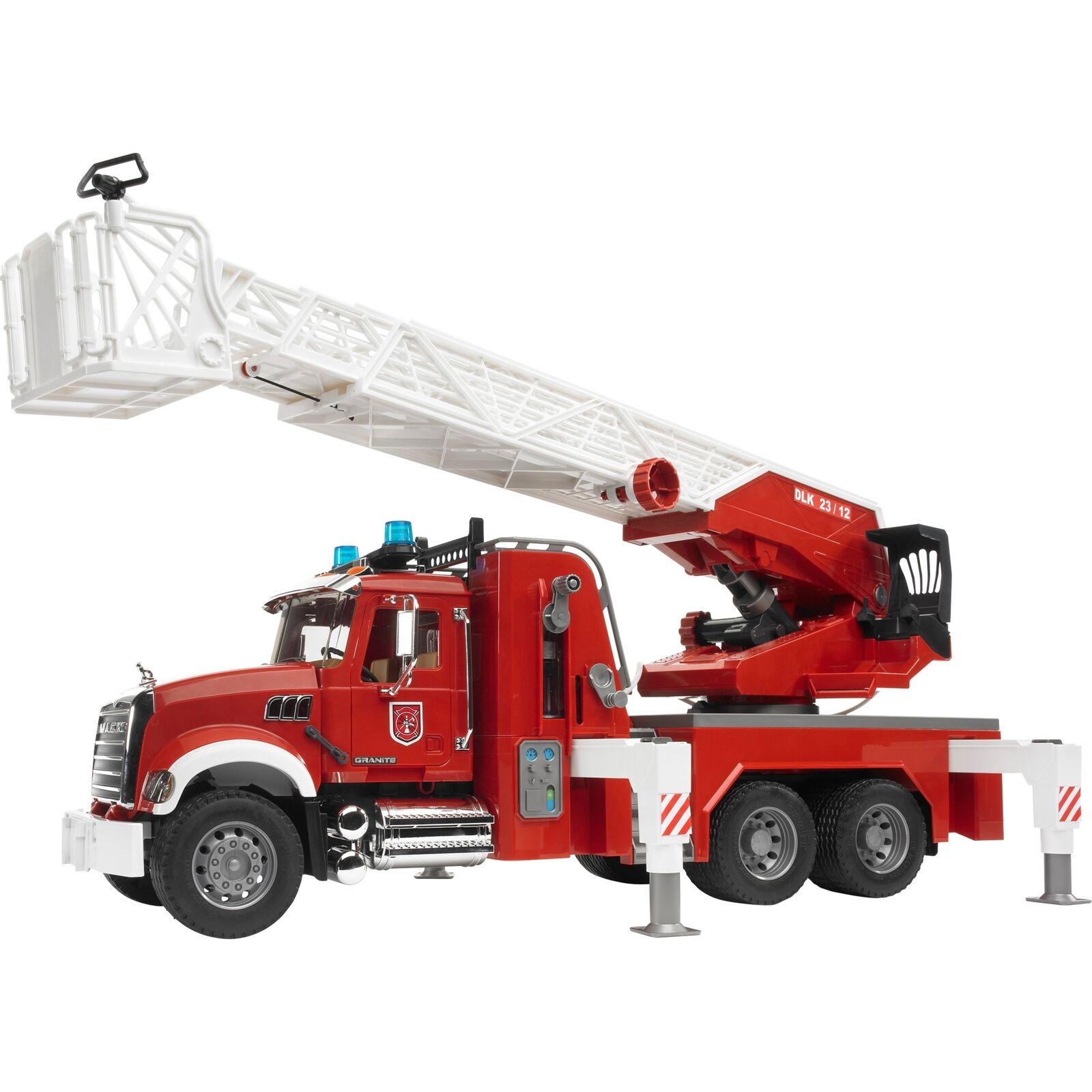 Bruder MACK Granite Feuerwehrleiterwagen Modellfahrzeug Modellfahrzeug Modellfahrzeug rot e2764f