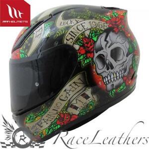 MT Venganza Cascos Integrales de Moto Motocicleta Bicicleta Calavera y Rosas Negro//Rojo L 59-60cm
