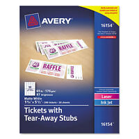 Avery Printable Tickets W/tear-away Stubs 8 1/2 X 11 White 10/sheet 20sheets on sale