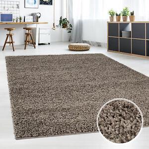 Teppich-Shaggy-Flauschiger-Hochflor-Wohn-Teppich-Einfarbig-Mocca-Wohnzimmer