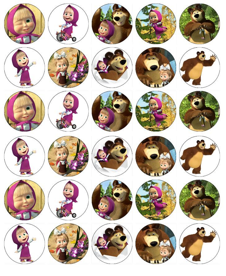 Маша и медведь картинки на капкейки