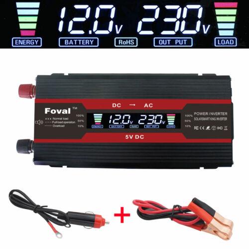 5000w car power inverter DC 12v to AC 230v 240v travel trip converter LCD USB UK