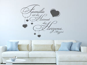 wandtattoo spr che familie ist die heimat des herzens nr 1 wand tattoos zitate ebay. Black Bedroom Furniture Sets. Home Design Ideas