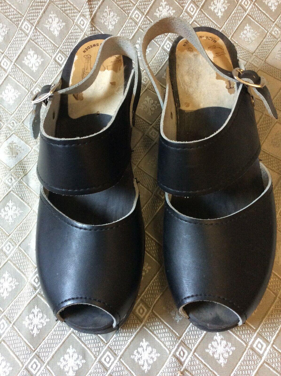 Toffeln Sz 41 Clogs Mule Slide Sweden mary jand sandal peep toe black shoes play