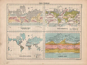 1901 VICTORIAN MAP ~ THE WORLD ~ PREVAILING WINDS OCEAN CURRENTS ...