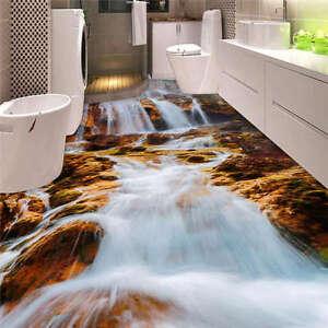White waterfall rocks 3d floor mural photo flooring for 3d wallpaper for home floor