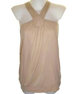 New Women's French Connection Strappy Stretch Top Blouse Vest Tank Honey Peach