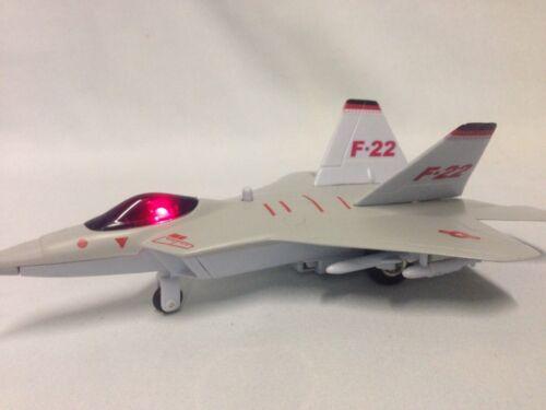 """P//B Toys Beige Lockheed Martin F-22 Raptor Fighter Jet 7.5/"""" Diecast Light Sound"""