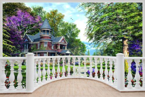 Énorme 3D balcon Enchanted Garden Wall Stickers Film Mural Papier Peint 421