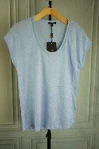 New-Massimo-Dutti-100-LINEN-Tshirt-W-Metal-chain-APPLIQUES-Light-Blue-Sz-S-M