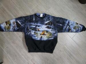 over Snowmobile Cabin All Deer Vintage Sweatshirt Large Wolf 8wKqEWwUOX