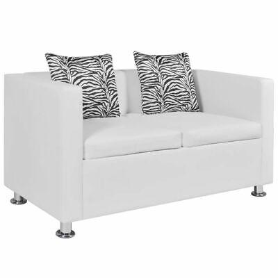 vidaXL Sofá blanco de cuero artificial, 2 plazas muebles casa asiento bricolaje