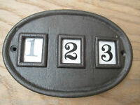 Vintage style Cast iron House Sign Door Plaque Name Number Plate 1 to 999