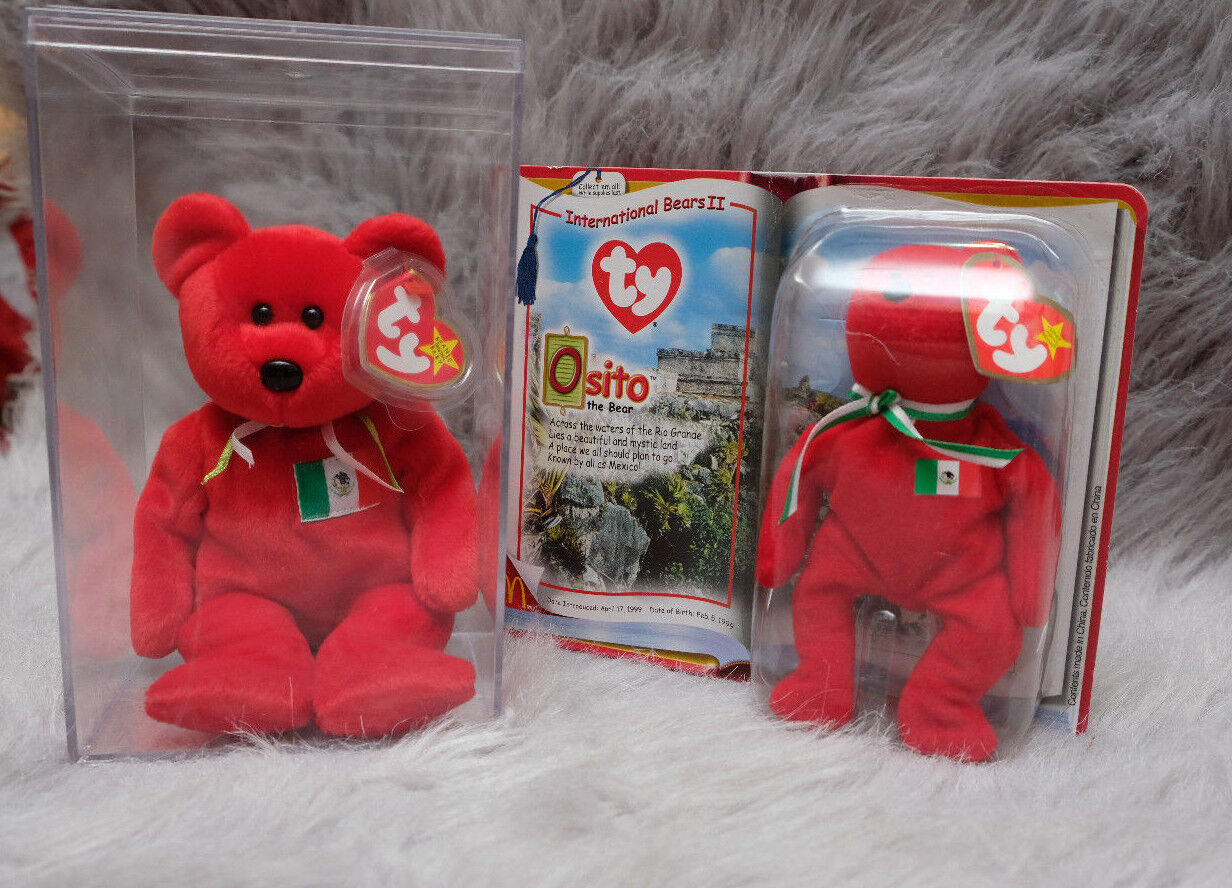 Osito Bear Mexico ORIGINAL TY Beanie Baby Rare MWMT Hand Made No Stamp Retired