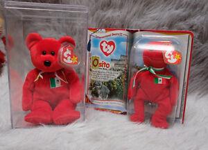 Osito Bear Mexico ORIGINAL TY Beanie Baby Rare MWMT Hand Made No Stamp Retired