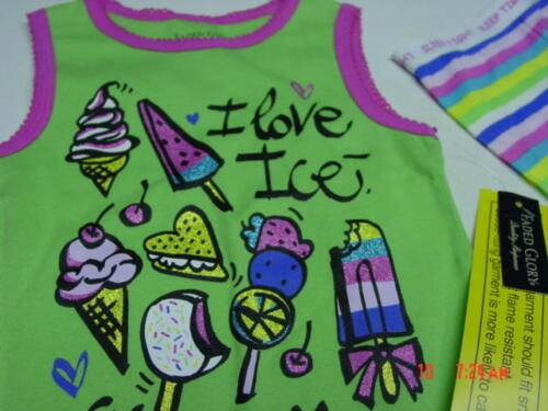 NWT Toddler Girls 2 piece Summer Pajama outfit Green I Love Ice Cream Glitter