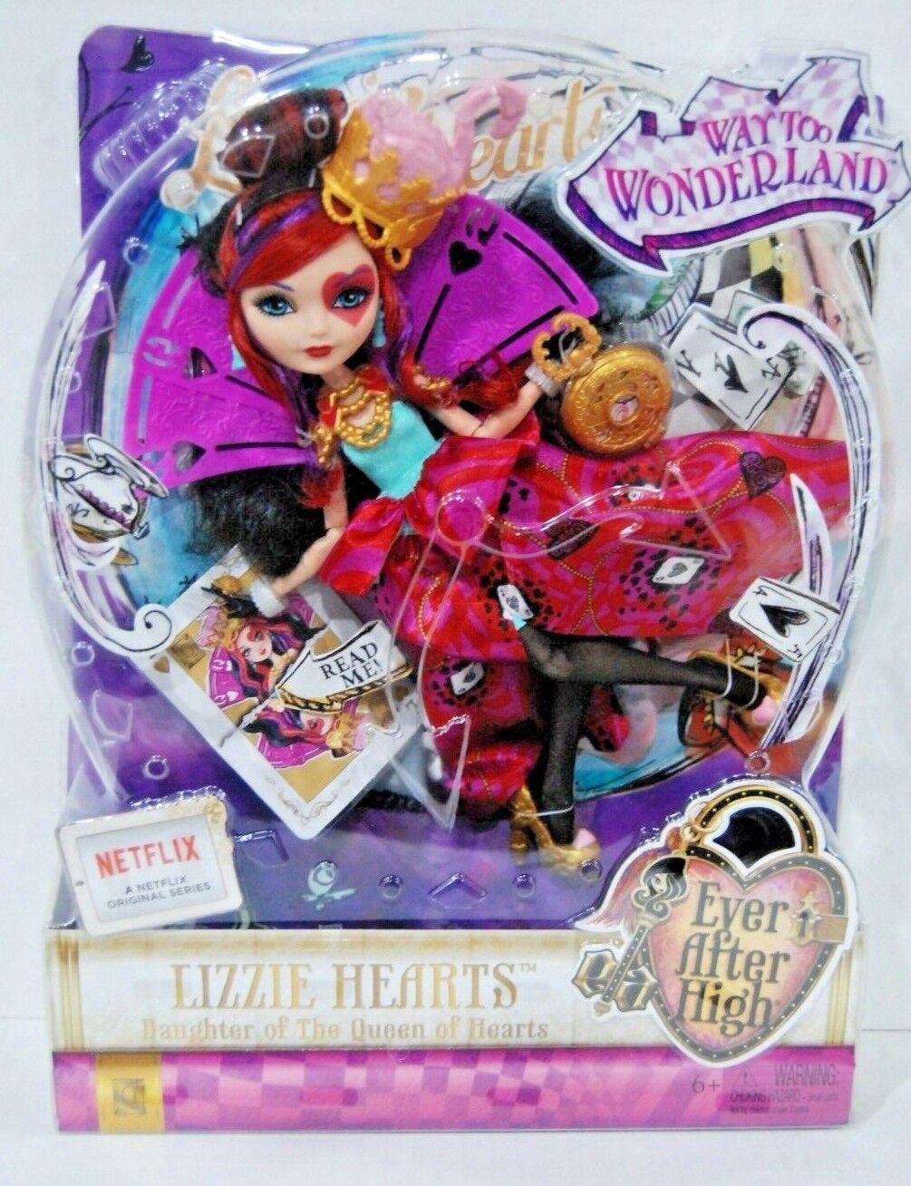 Ever After High demasiado Muñeca Lizzie Hearts País De Las Maravillas En Caja Como Nuevo Figura de juguete