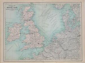 1901 CENSUS MAP BRITISH ISLES RAILWAY STEAMSHIP ROUTES BELGIUM IRELAND DOVER