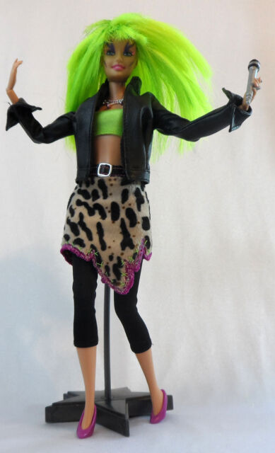 "OOAK Jem Misfits 11.5"" CUSTOM PIZZAZZ DOLL 80's Punk Rock Pop Barbie Reroot"