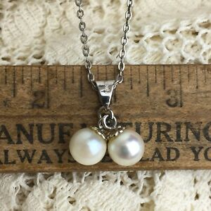 Vintage-70s-Pearl-Cluster-Necklace-Sterling-Silver-925-Pendant-Romantic-Preppy