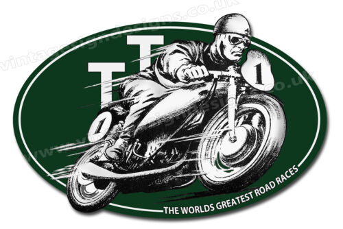 """I.O.M TT ROAD RACES DIGITALLY CUT OUT VINYL STICKER 4.5/"""" X 3/"""" OVERALL SIZE"""