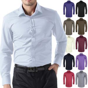 Moderna-para-Hombre-Casual-Camisas-Negocios-Vestido-Camiseta-Manga-Larga-Slim