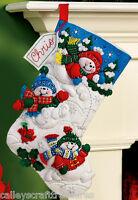Playful Snowmen Christmas FELT STOCKING KIT Plaid Bucilla Fun In The Snow NEW Craft Supplies