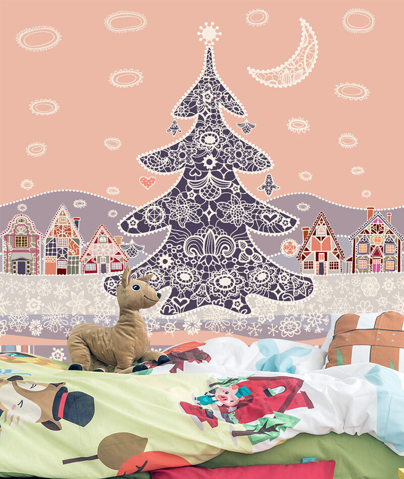 3D Christmas tree pink art Wall Paper Print Decal Wall Deco Wall Indoor Murals