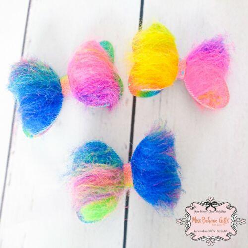 Furry Rainbow Fluffy Faux Fur Hair Bow Clip Approx 4 Inch