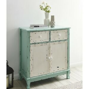 Details about Living Room Mid-Century Distressed Wood Storage Cabinet in  Antique Blue/Cream
