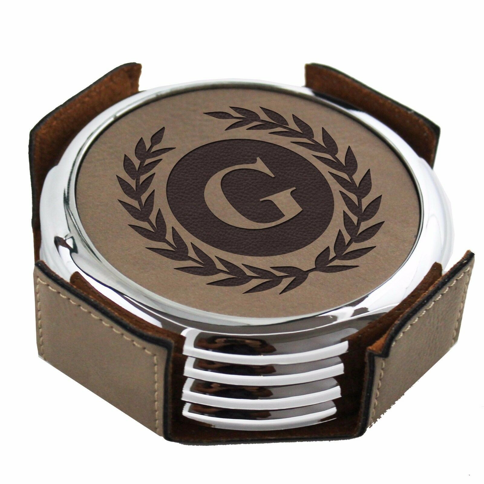 Custom engraved leather drink coasters housewarming for Handmade drink coasters