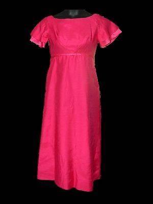 Vintage Emma Domb Pink Maxi Dress Gown XS Small 1960s Bow Flutter Sleeves