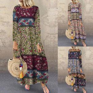Vintage-Femme-Manche-Longue-Imprime-100-coton-Col-Rond-Robe-Poche-Dresse-Plus