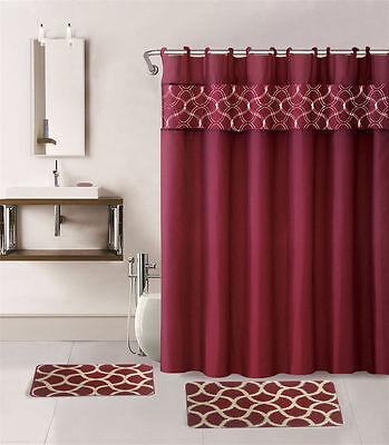 4pc Burgundy Geometric Bathroom Set Bath Mats Shower Curtain Fabric Hooks