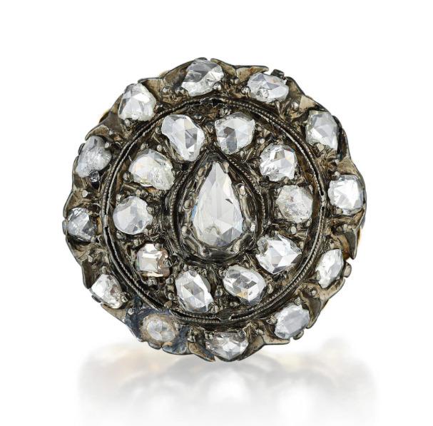 Victorian 14K White Gold, Silver and Diamond Dome… - image 1