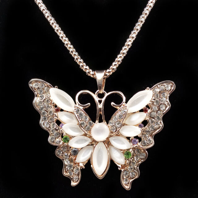Fashion Gold Plated Crystal Opal Butterfly Chain Sweater Necklace MYL150