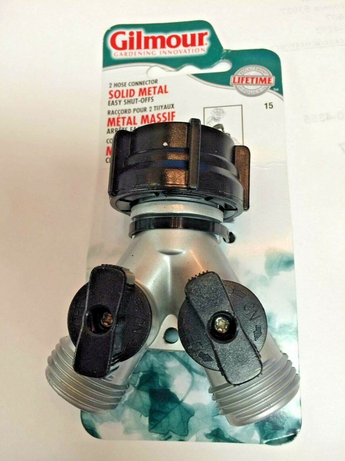 GARDEN HOSE, Multi-Faucet Fitting, Zinc, Two Outlets with Two Shut-Off Valves