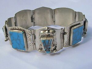STUNNING-Taxco-925-Sterling-Silver-Bracelet-w-Turquoise-Stones-Mexico