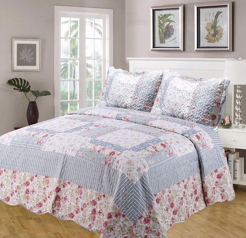 VINTAGE JULIE QUILTED FLORAL THROW BEDSPREAD + PILLOWSHAMS IN DOUBLE OR KING BED