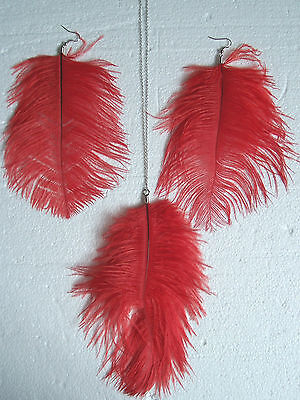 Long Lush Red Ostrich Feather Necklace and Earrings Set - Very Sexy