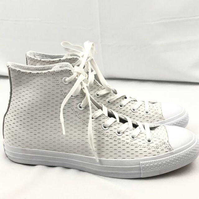 26c5e58540df Converse All Star Leather High White out Pack White gold 153115c Sz ...