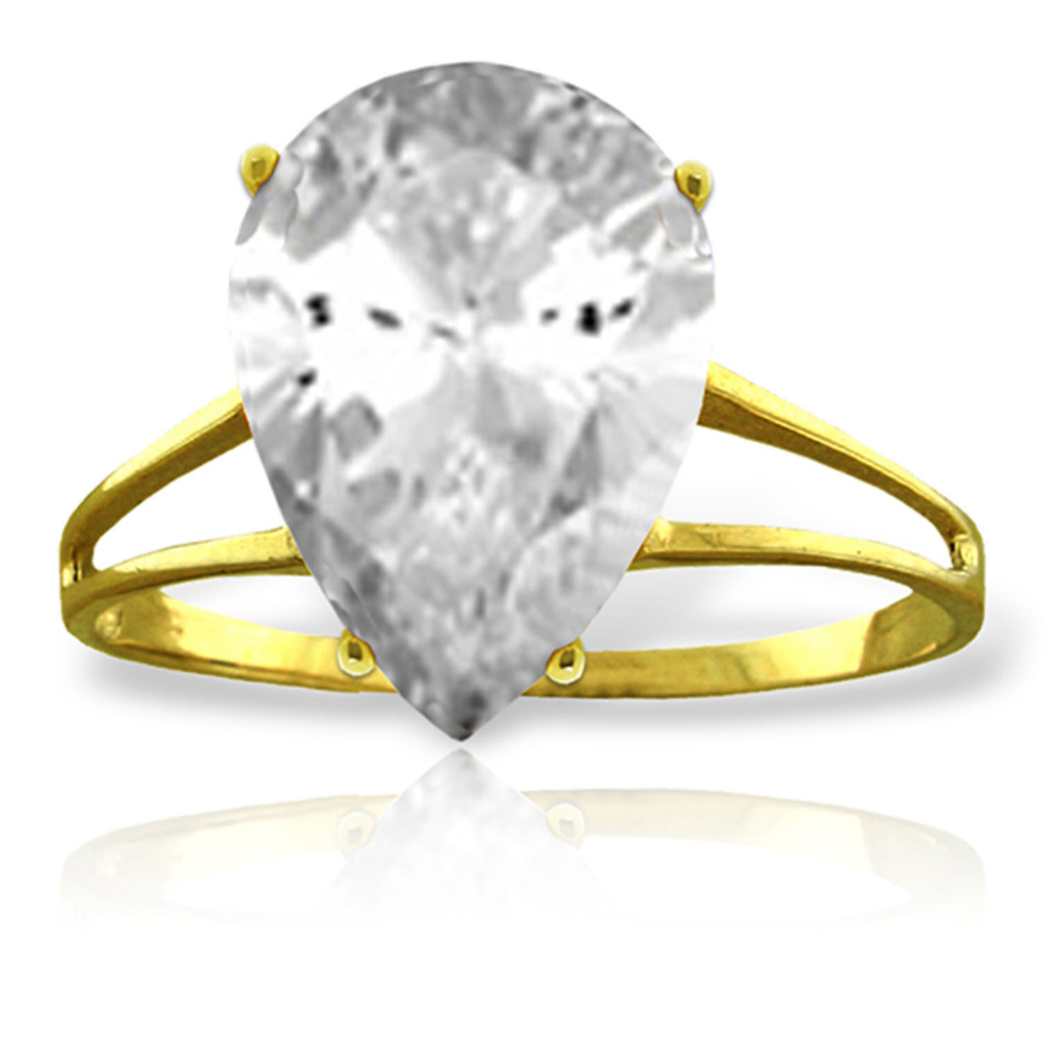 Brand New 5 Carat 14K Solid gold Ring Natural White Topaz