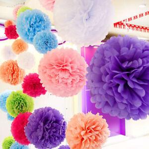 Wedding Party Hanging Tissue Paper Flowers Pom Pom Lantern