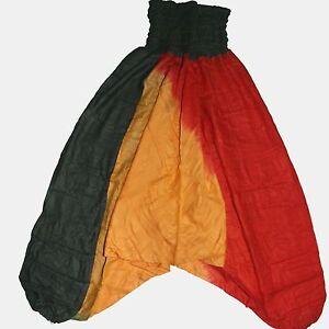 Hose-Haremshose-Rasta-Pluderhose-Pumphose-Aladinhose-Goa-Gruen-Gelb-Rot-Tie-Dye