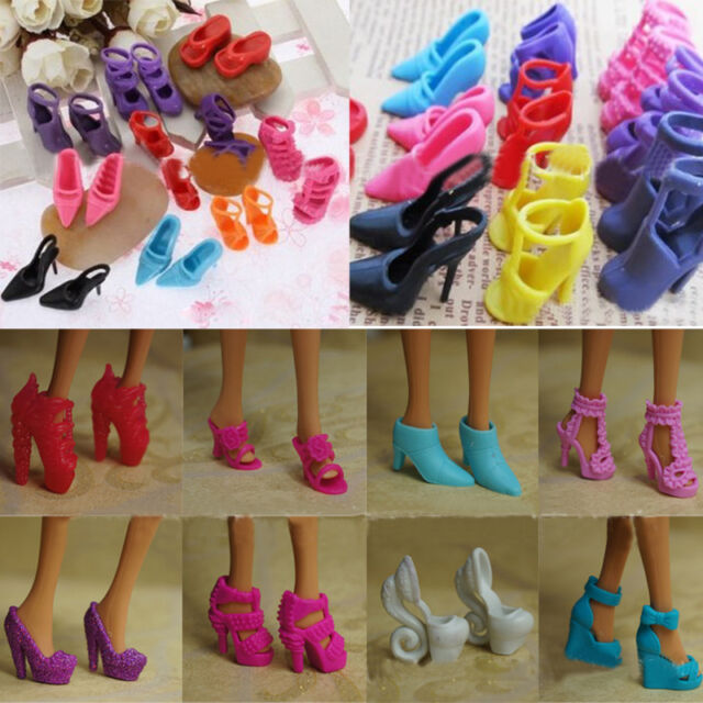 Gorgeous 10 Pairs Wedding Gown Princess High Heel Shoes Sandals For Barbie Doll
